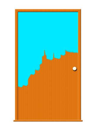 Illustratie van een deur half-geschilderd met blauwe verf. Stockfoto