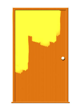 undone: Illustration of a door half-painted with yellow paint. Stock Photo