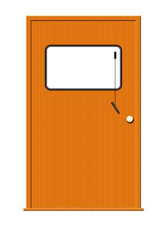 白い背景で隔離のマーカー ボードと木製のドアのイラスト。