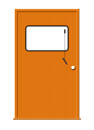 inform information: Illustration of a wooden door with a marker board isolated on a white background. Stock Photo