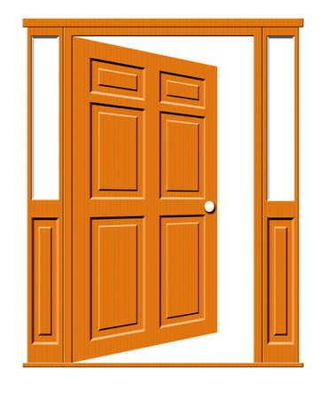 Illustratie van een open houten panelen deur met zijramen geïsoleerd op een witte achtergrond.