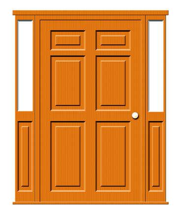 Illustratie van een met panelen beklede deur met zijruiten die op een witte achtergrond worden geïsoleerd.