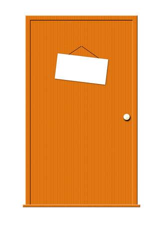 テキストのための掛かる白い印と木製のドアのイラスト。 写真素材 - 2781433