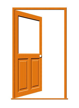 Illustratie van een open houten deur met een leeg wit venster geïsoleerd op een witte achtergrond.