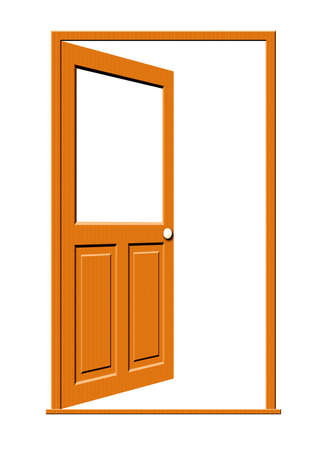 Illustration of an open wooden door with a blank white window isolated on a white background.