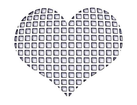Heart shape made of tiny glass squares