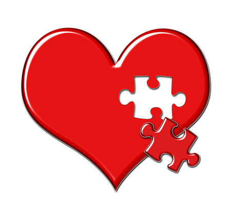 lost love: Red shiny heart with puzzle piece missing