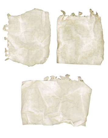 looseleaf: Collection of old ripped and wrinkled notepad paper. Stock Photo