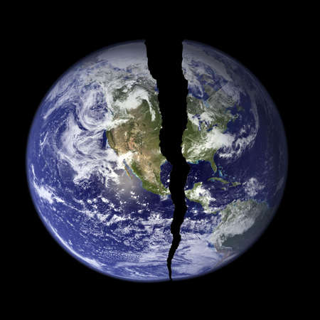 broke: NASA Photo of Earth with a crack in it Stock Photo