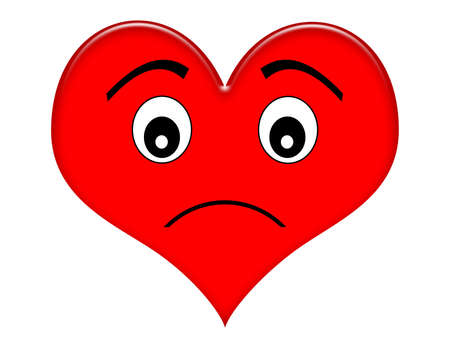 sad love: Red cartoon frowning heart Stock Photo