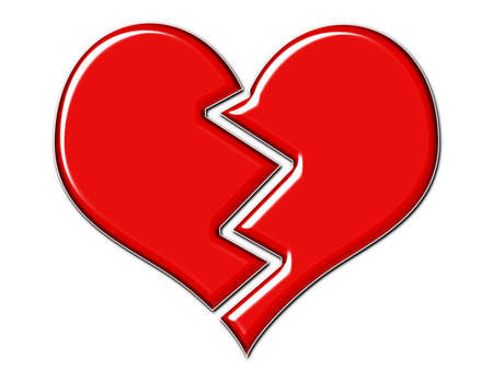 yearn: Cracked red beveled broken heart on white background Stock Photo