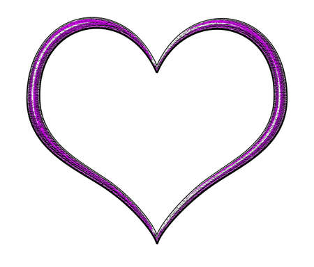 heartshaped: Purple textured and beveled heart frame Stock Photo