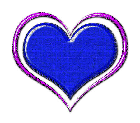 Blue textured heart with purple outline