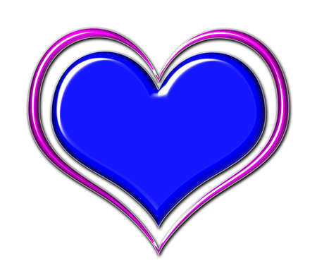 Blue chrome heart with purple outline