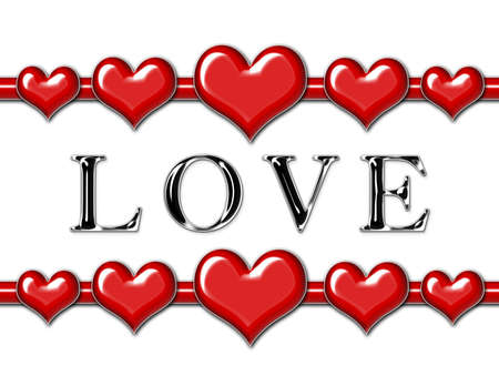 Love with hearts on a white background