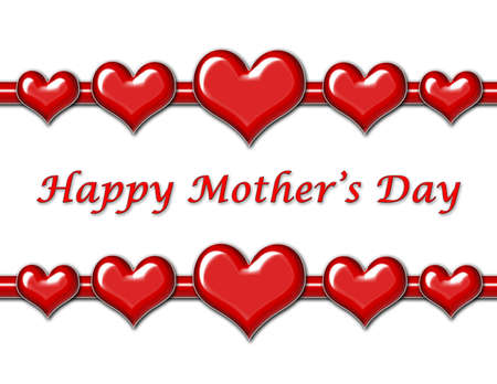 Mothers Day Greeting with red hearts