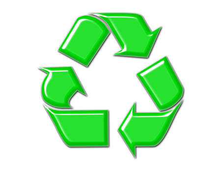 beveled: Green beveled recycle symbol with drop shadow Stock Photo