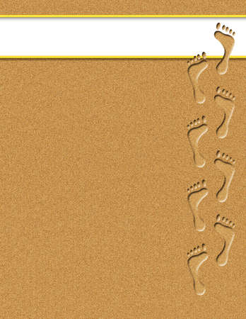 footprints sand: Footprints in sand with white banner for text Stock Photo