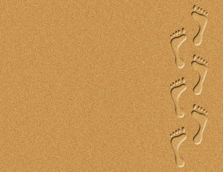 across: Illustration of footprints walking across the sand