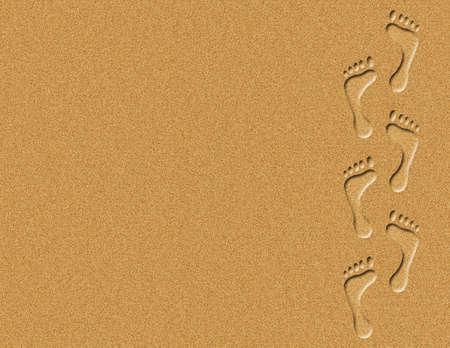 descalza: Ilustraci�n de las huellas de pie sobre la arena