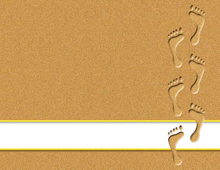 barefoot walking: Footprints in sand with white banner for text Stock Photo