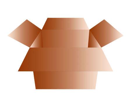 갈색 마분지 상자의 3 차원 그림 스톡 콘텐츠