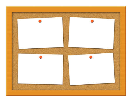 crooked: Cork board with blank crooked note paper