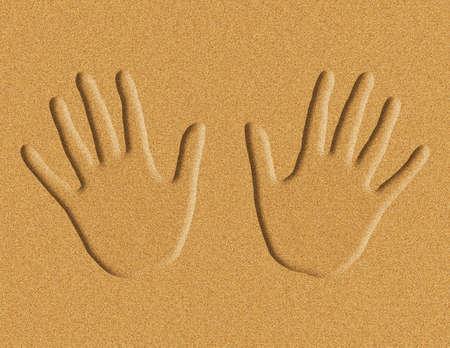 Illustration of hand prints in the sand illustration