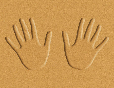 Illustration of hand prints in the sand