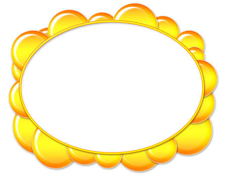 Oval frame with yellow bubbles and white space