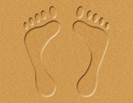 Illustration of footprints in the sand