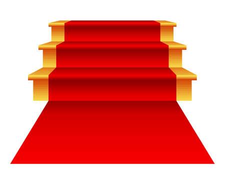 Stappen met rode loper geïsoleerd op wit