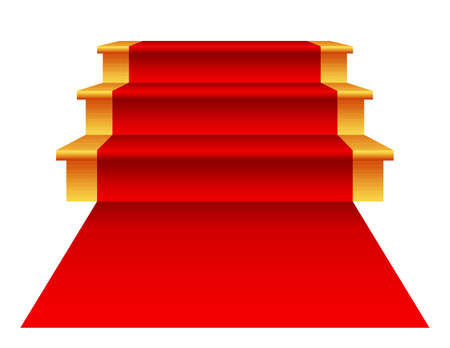exciting: Steps with red carpet isolated on white