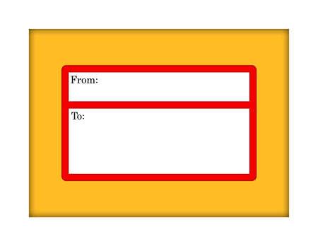 메일 링 레이블이있는 Manilla 봉투