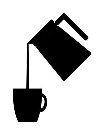 Black silhouette of coffee being poured into a mug