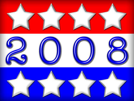 Red, white and blue stars and stripes with text 2008 in blue metallic font. Stock Photo
