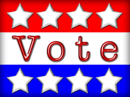 elect: Red, white and blue stars and stripes with text VOTE in red metallic font. Stock Photo