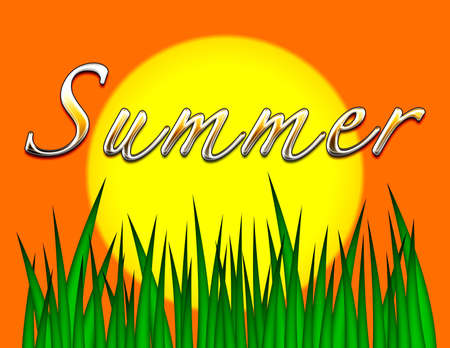 metallic  sun: Illustration of sun and grass with the word Summer in shiny metallic letters.