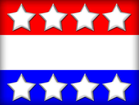 White stars on a red, white and blue background with blank space for text.