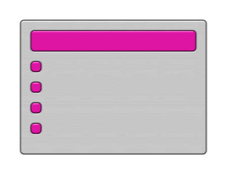 Shiny brushed metal background with dark pink header and bullets.