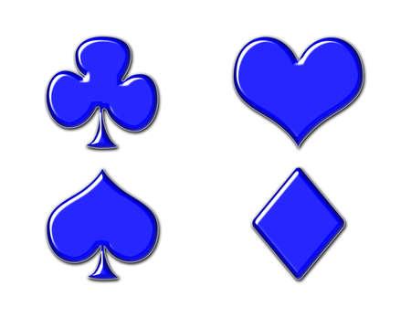 Speel kaart pictogrammen in glanzend metaalhoudende blauwe geïsoleerd op wit - club, hart, kat, diamant. Stockfoto
