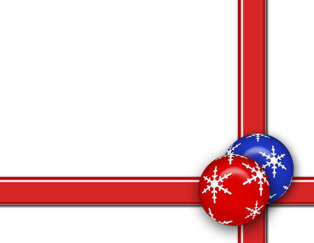 Christmas background with blue and red ornament, stripes and white area for text.