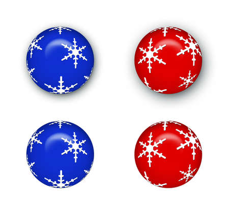 Blue and red Christmas ball ornaments - with and without drop shadow.