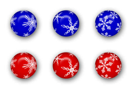 Blue and red Christmas ball ornament collection.