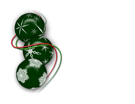Green Christmas ball ornaments with red and green stripe. Imagens