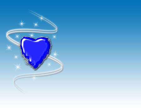 Blue grunge heart with swirls and sparkles on a blue gradient background.