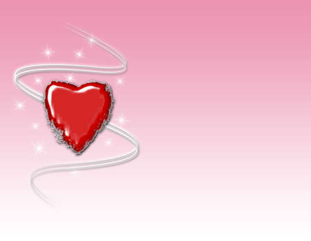 Red grunge heart with swirls and sparkles on a pink gradient background.
