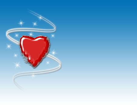 Red icy heart with swirls and sparkles on a blue gradient background. Reklamní fotografie