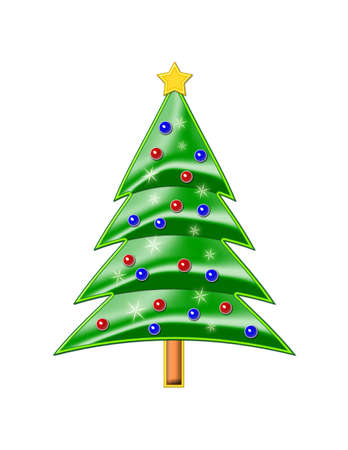Shiny Christmas Tree illustration isolated on a white background.