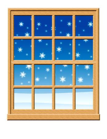 雪が降っているとウィンドウ。 写真素材 - 3944805